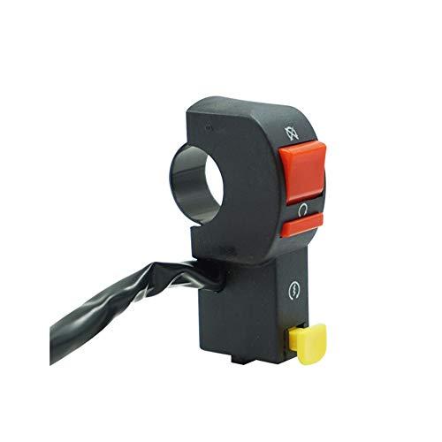 HKRSTSXJ Interruptor de la Motocicleta 22mm 7/8'Manillar eléctrico de Marcha y paro ATV Botón On/Off con 4 Cable