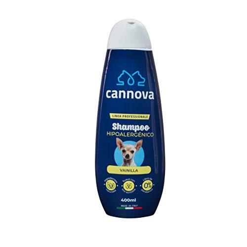 Cannova Shampoo Hipoalergénico Libre de parabenos. Linea Profesional de Origen Italiano para Perros con Aroma a Vainilla 400 Ml.