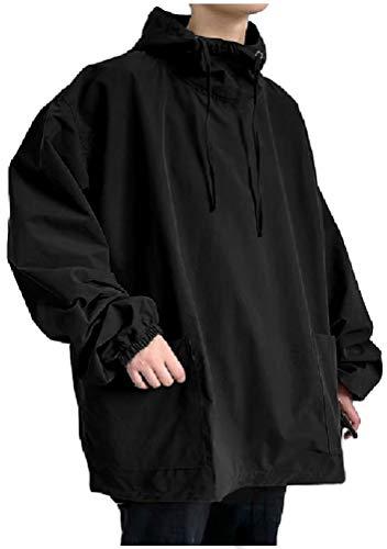 [フローライズ] パーカー ウインド ブレーカー アノラック ビッグ シルエット シャツ メンズ 長袖 大きい サイズ tシャツ tシャツ トップス カットソー ハイ スポーツ アウター インナー 服 yシャツ セット セーター ゴルフ トレーナー ネック ウェア ルーム ファッション ウエア ゆったり フーディ プルオーバー キャンプ アウトドア 旅行 男女共用 FL133 ブラック M - baby 1 40代 7分 v系 kids 男 絹