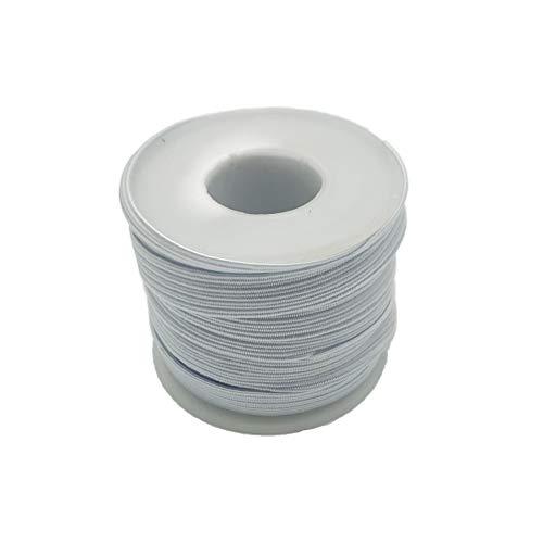 Braided Elastic Cord/Elastic Band/Elastic Rope/Bungee/White Heavy Stretch Knit Elastic Spool (White, 15 Yard by 1/4-Inch)
