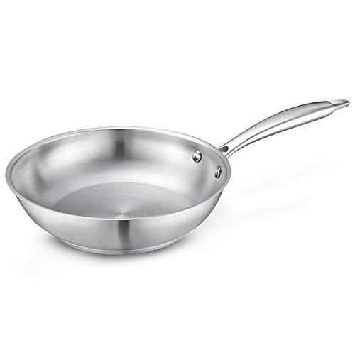 Eono Essentials Poêle en Acier Inoxydable à Anti-Rayures de 20cm, Petite poêle à omelettes pour Cuisine à Induction avec Manche résistant à la Chaleur, va au Lave-Vaisselle et au Four, JP-S-2050