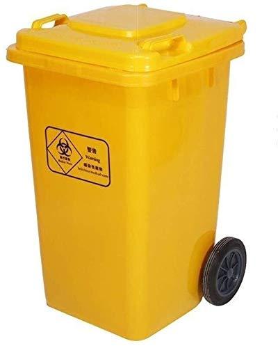 RYYAIYL Cubo de la Basura, 100 litros Amarillo Ruedas de Basura Bote de Basura del Hospital El Centro Comercial al Aire Libre Puede...