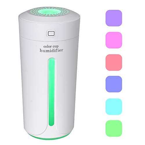 Dricar humidificador de Aire casa–230ML Humidificador USB Coche, Niebla congeladores humidificador de Aire, Paro Automático, silencioso con 7Colores Luces LED (Color Blanco)
