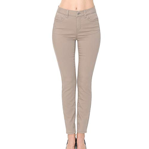 Wax Denim Women's Juniors Push-Up High-Rise Colored Twill Pants (7, Khaki)