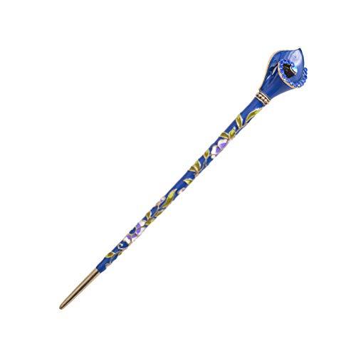 Lurrose Baguettes de cheveux vintage chinois antique épingles à cheveux bâton de cheveux mentale jade (bleu)
