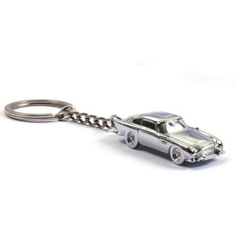 Portachiavi in metallo argentato con scritta 'No Time To Die Aston Martin DB5' James Bond 007