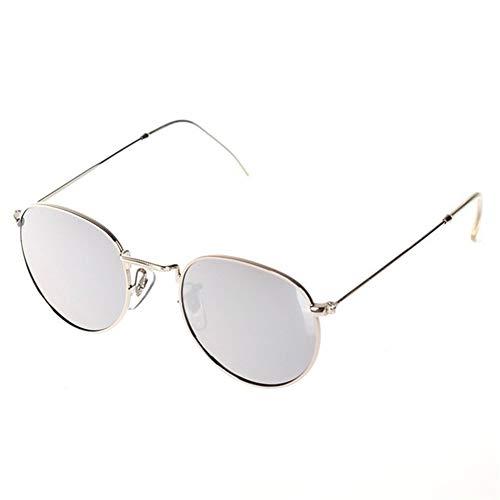 NZHK Gafas Conductor Hombres Mujeres Mirror Lens Steampunk Gafas de Sol Retro de los vidrios de la Vendimia de Moda de Lujo Gafas de Sol polarizadas (Color : Silver)
