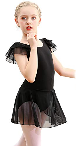 MdnMd Girls Toddler Ballet Dance Leotard Layered Skirt Tutu Ballerina Dress Double Ruffle Sleeve (Black, 2-4 Years)