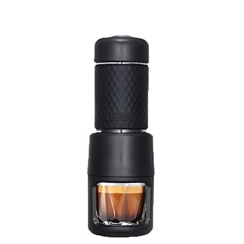 LIGHT Machine à Expresso Portable,Machine à Café Manuelle en Acier Inxydable avec 2 en 1 : Capsules et Café Moulu,80ML de Réservoir d'eau 21 * 7CM Noir
