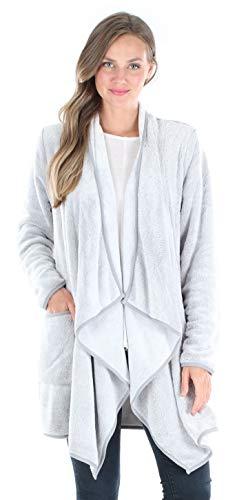 Sleepyheads Pajama Women's Fleece Long Sleeve Wrap Robe Cardigan with Pockets, Wrap- Light Grey, S/M