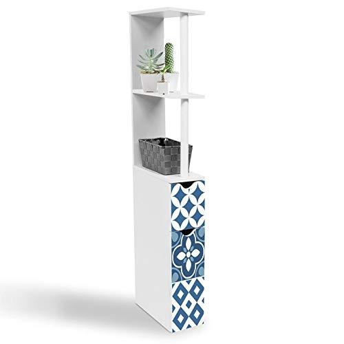 IDMarket - Meuble WC étagère WILLY 2 portes motif carreaux de ciment bleu