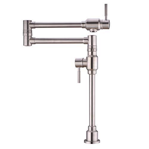 TUTEW Pot Filler Faucet, Pot Filler Faucet Wall Mount, Pot Filler Faucet Brushed Nickel, Deck Mount Pot Filler Kitchen Faucet, Folding tretchable Kitchen Faucet