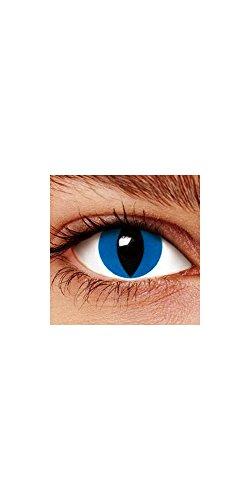 winis lentilles pour Halloween annuelles valables 1 an de Couleur sans Correction Fantaisie Crazy déguisement (Blue Cat)