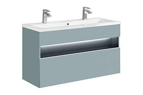 Jadella onderkast Set 'Rio Mint 120' badkamerset 2 TLG wastafel 120cm mint pastel met LED-verlichting