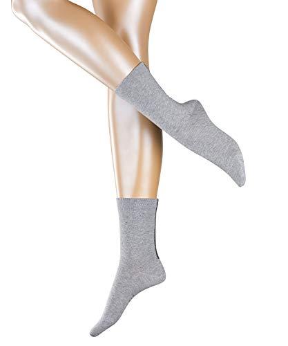 ESPRIT Damen Socken Accent Stripe 2-Pack - Baumwollmischung, 2 Paar, Grau (Light Grey 3400), Größe: 39-42