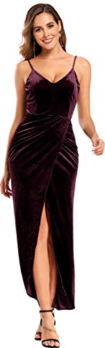 Ababalaya - Vestido de Terciopelo sin Mangas con Cuello en V y Tirantes de Espagueti para Mujer - Rojo - 36 ES/38 ES/S
