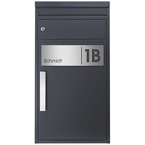 Paketbriefkasten SafePost 65MS inkl. Gravur Namensschild Edelstahl V4A/anthrazit RAL 7016 Design-Paketkasten für alle Paketdienste Paketbox mit Briefkasten modern Standbriefkasten