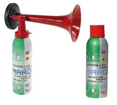 Marco ORIGINAL Fanpaket 1-1 Druckluftfanfare komplett 1 Nachfüllflasche die Top Hupe Fanfare Tröte Drucklufthupe EU Gesetz komform sehr Umweltfreundlich