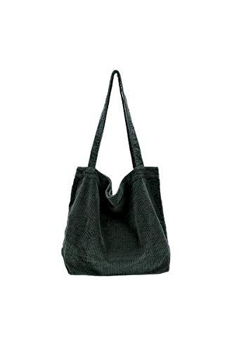 Ulisty Damen Grosse Kapazität Cord Schultertasche Retro Handtasche Mode Einkaufstasche Tägliche Tasche dunkelgrün