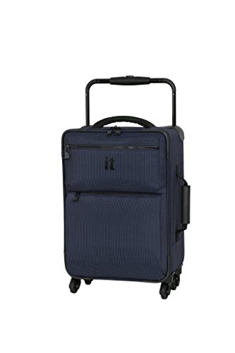 IT Luggage World's Lightest 55cm Carry-on Four Wheel Spinner Suitcase Navy Two Tone