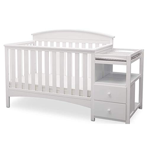 Great Price! Delta Children Abby Convertible Crib and Changer, Bianca White