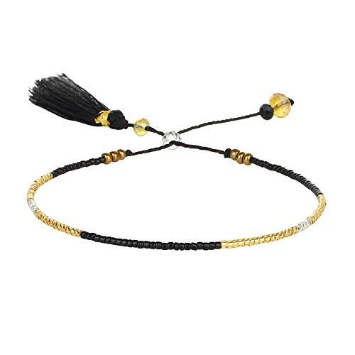 KELITCH New 2021 Friendship Bracelets Gewebter Strang Miyuki Perlen Armbänder Für Frauen Armbänder Armreifen (Schwarz)