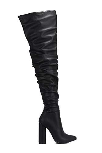 Cape Robbin Thigh High Boots Women, Chunky Block Heels, Fashion Dress Boots for Women - Black Size 9