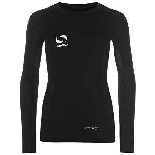 Sondico kids' long sleeve, core, underwear top -  Black - X-Large