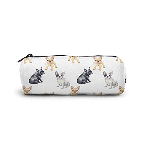 Watercolor french bulldog Pencil Case Zipper Bag Pouch Holder Makeup Brush Bag Cylinder cosmetic bag for School Work Office