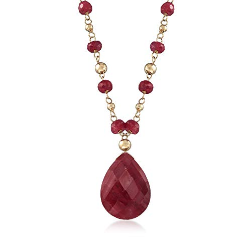 Ross-Simons 10.00 Carat Ruby Station Necklace in 14kt Yellow Gold For Women 18, 20 Inch