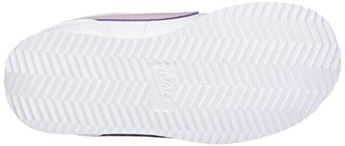 Nike Cortez Basic SL (PSV) Running Shoe, White Iced Lilac Soar MTLC Silver, 2 UK