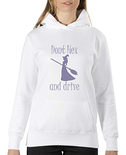 Comedy Shirts Don't hex and Drive Sweat à capuche pour femme Motif floral - Blanc - XL