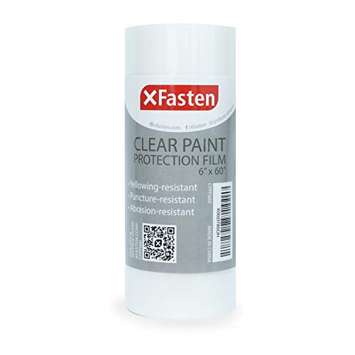 XFasten Vinyl Clear Paint Protection Film 6-Inch x 60-Feet, Clear Bra Film and Bike Frame Protection Tape Protector Guard Against Road Damage – Residue-Free   Excellent Sneaker Sole Protection Film