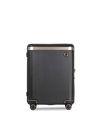 ECHOLAC Dynasty - EchoLite Polycarbonate Lightweight Small 55 cm Carry-On Cabin Hand Luggage with Italian Design, and 8-Year No Break Warranty, Black