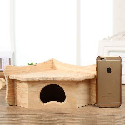 Willlly Maison triangulaire pour hérisson avec rabat en bois pour rats et rats Hiverfest, cabane pour hérisson extérieur Totoro (couleur : S, taille : 26 x 19 x 11)
