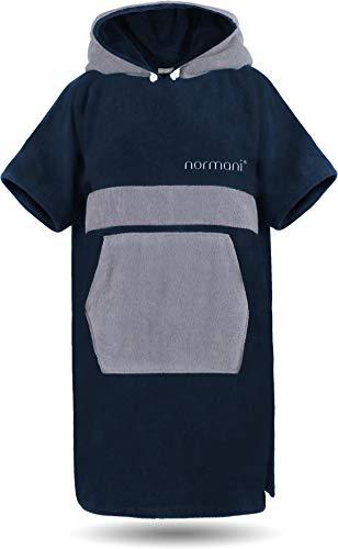normani Baumwoll Handtuch-Poncho - Unisex Strand Umziehhilfe - geschlossener Bademantel für Damen und Herren Farbe Navy/Grau Größe S/M