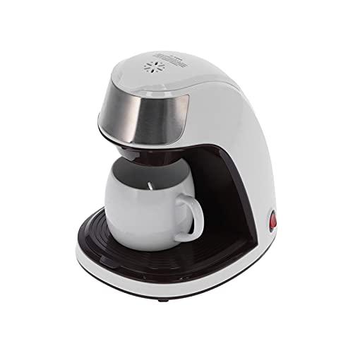 Mini cafetera, cafetera de un solo servicio de 300 ml, almacenamiento de cápsulas y taza de viaje, con taza y cuchara(Enchufe de la UE)
