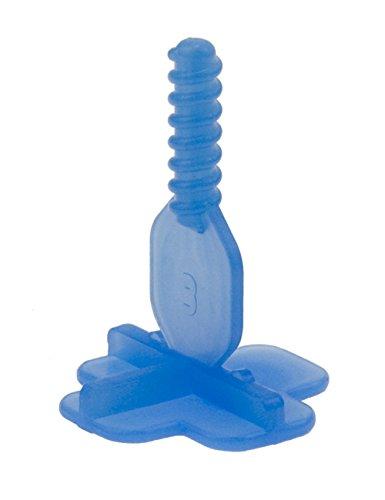 Brunoplast NIVIFIX 250 Stück T-Stück Gewindelaschen blau T-Fuge 3 mm für Fliesen Platten Nivelliersystem zum Verlegen von Wand- und Boden-Fliesen, Verlegehilfe System aus Kunststoff
