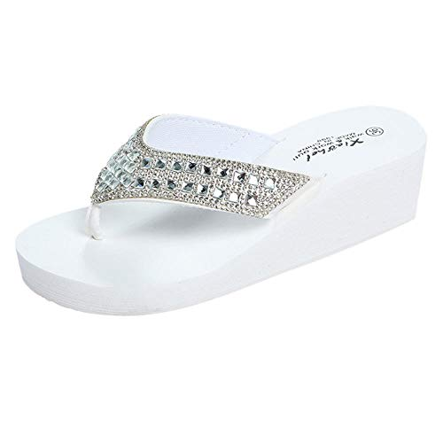 Zapatillas Casa Chanclas Sandalias Chanclas De Tacón De Cuña Zapatos De Casa De Mujer Zapatillas De Moda Zapatos De Playa-White_37