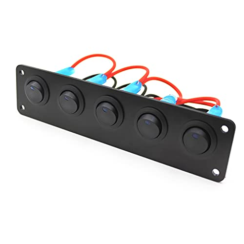 LXSTARS Panel de interruptores de Encendido y Apagado de 5 Unidades, Panel basculante de Palanca de luz Azul Multifuncional, Panel de interruptores de Barco Duradero Marino de 12-24 V para Coche