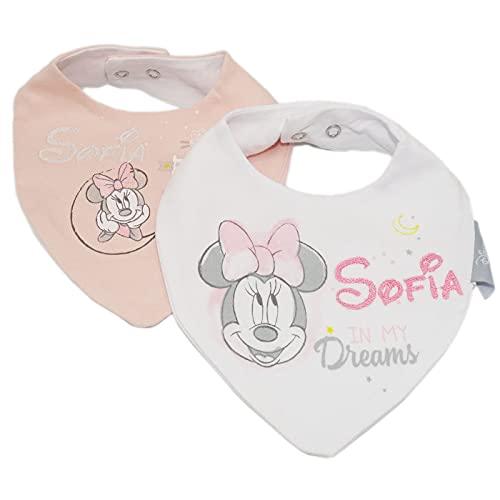 Variouss Babero de Disney para bebé recien nacido personalizado con el nombre bordado. (Minnie Mouse Pack 2 und.)
