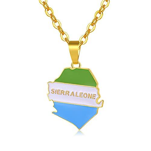 YUANYIRAN Mapa Sierra Leona Collares Colgantes - Patriótico Encanto Étnico África Mapa Y Bandera Collares,Oro Color Clásico Hip Hop Joyería para Mujeres Hombres Tendencia Fiesta Regalo,50Cm