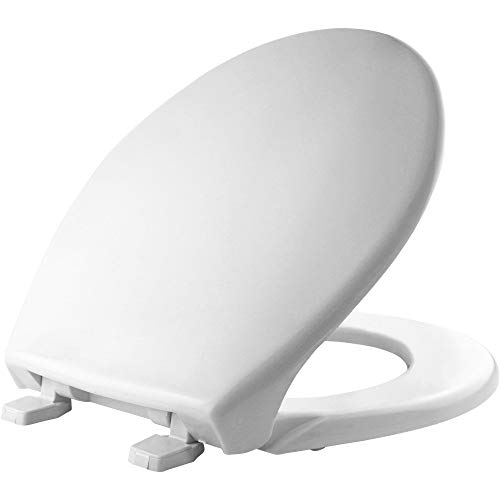 BEMIS 900 000 Commercial Heavy Duty Closed Front Toilet Seat with Cover, ROUND, Plastic, White