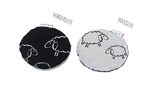 HOBEA-Germany Kirschkernkissen Wärmekissen Körnerkissen für Babys rund in verschiedenen Designs, Modell: Schafe schwarz weiß