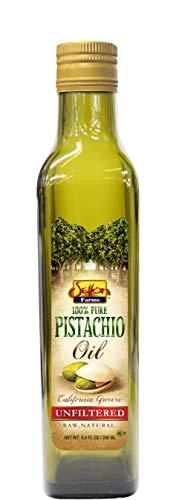 Setton Farms 100% Pure Unfiltered California Pistachio Oil, Raw and Natural, 8.5fl Oz Glass Bottle