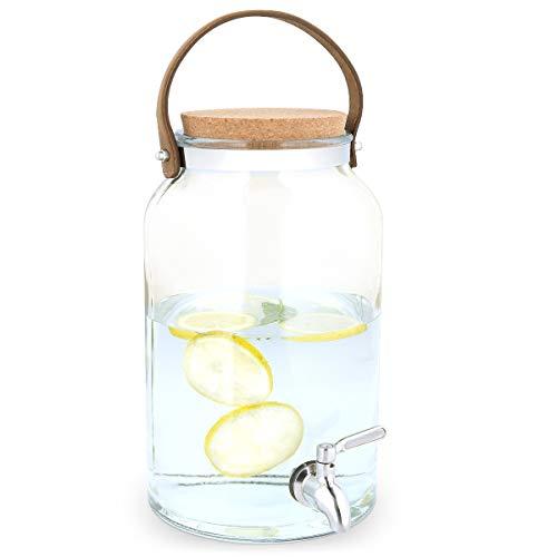Navaris Getränkespender 5,6 Liter aus Glas - mit Zapfhahn aus Edelstahl und Kork Deckel - Wasserspender Glasbehälter für warme und kalte Getränke