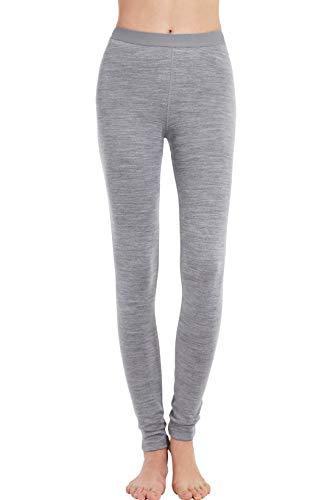 Eizniz Women's 100% Merino Wool Thermal Leggings 260g Base Layer Bottom Underwear - Warm Winter Heather Grey