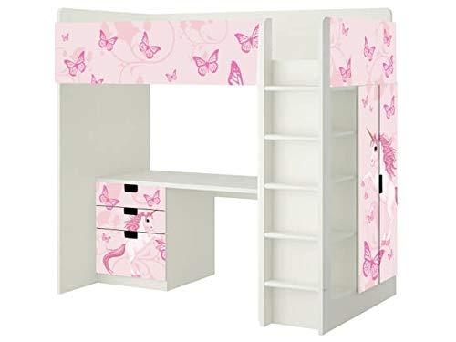 Einhorn Aufkleber - SH14 - passend für die Kinderzimmer Hochbett-Kombination STUVA von IKEA - Bestehend aus Hochbett, Kommode (3 Fächer), Kleiderschrank und Schreibtisch - Möbel Nicht Inklusive