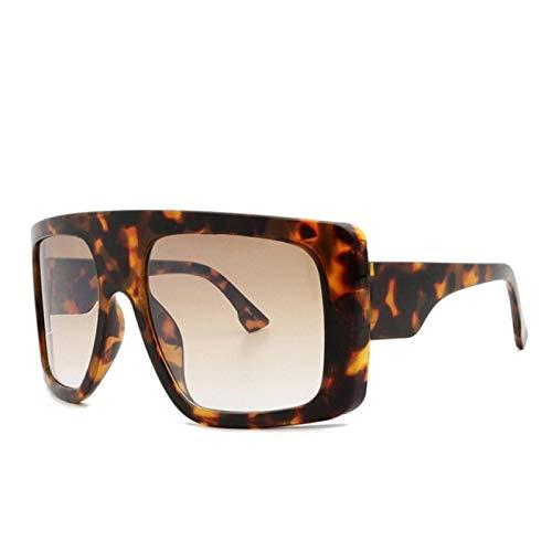 Gafas de Sol Sunglasses Gafas De Sol Cuadradas para Mujer, De Gran Tamaño, Enormes, Gafas De Sol para Hombre, Vintage, Tonos Beige, Parabrisas De Leopardo para Mujer