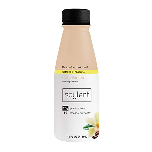 Soylent Complete Nutrition Gluten-Free Vegan Protein Meal Replacement Shake, Cafe Vanilla, 14 Oz, 12 Pack